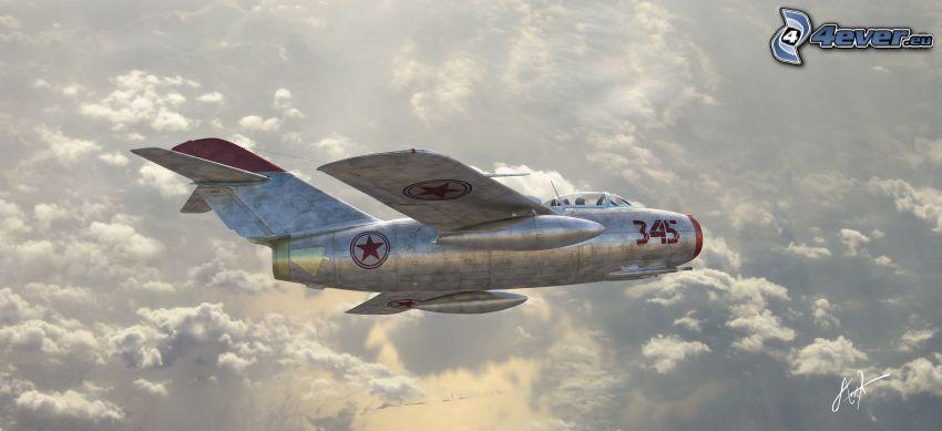 avión, encima de las nubes