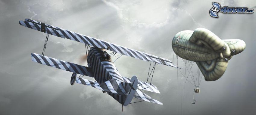 avión, globo dirigible