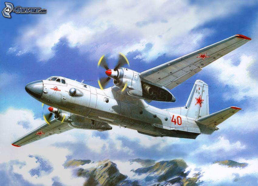 avión, montañas nevadas