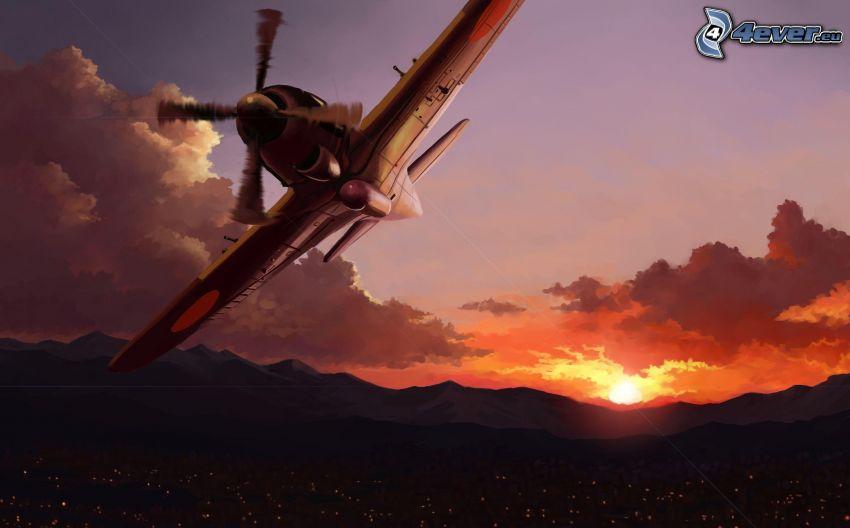 avión, puesta del sol