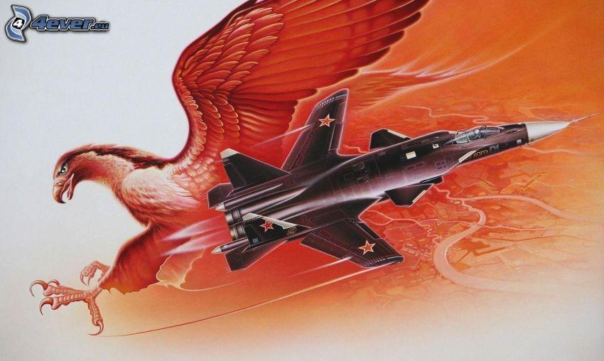 avion de caza, águila