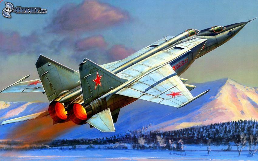 avion de caza, despegue, montaña nevada