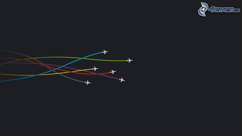 aviones, marcas de condensación, colores