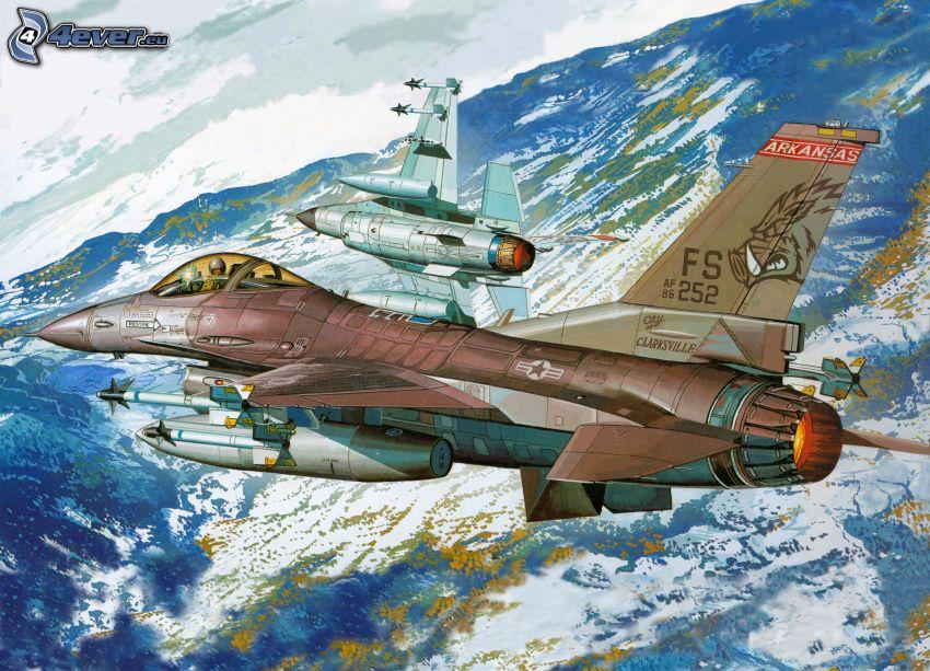 aviones de caza, colinas cubiertas de nieve