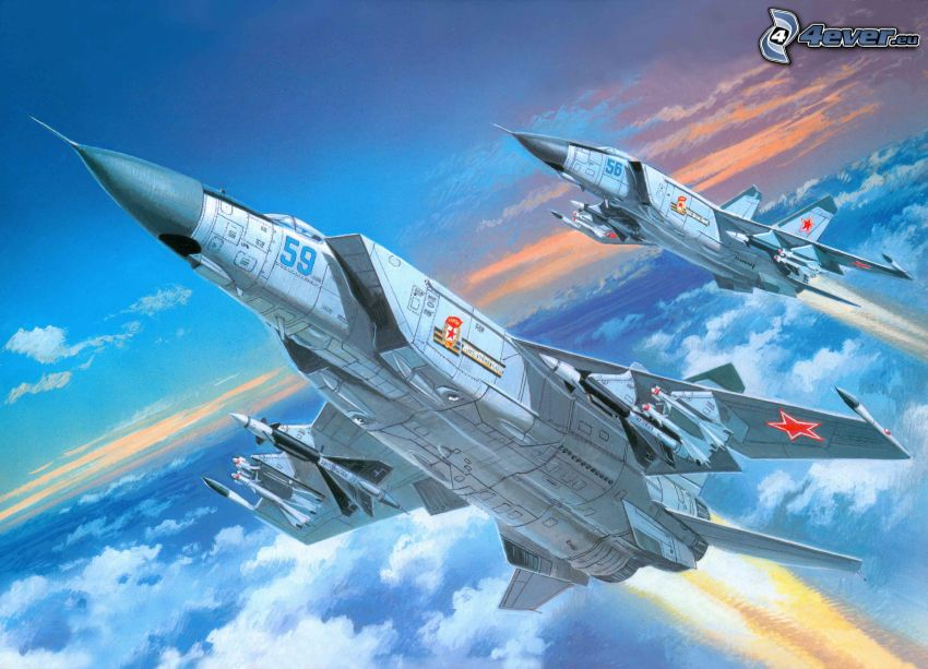 aviones de caza, MiG-25, encima de las nubes
