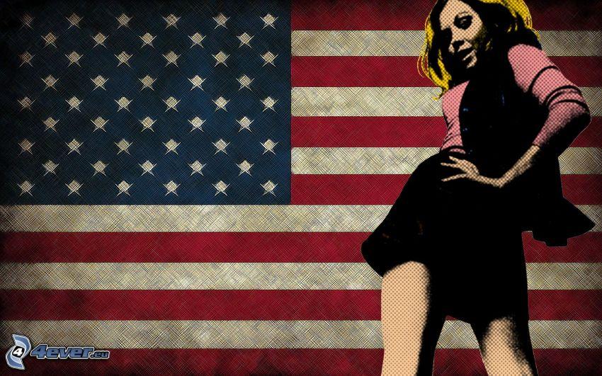 bandera americana, rubia