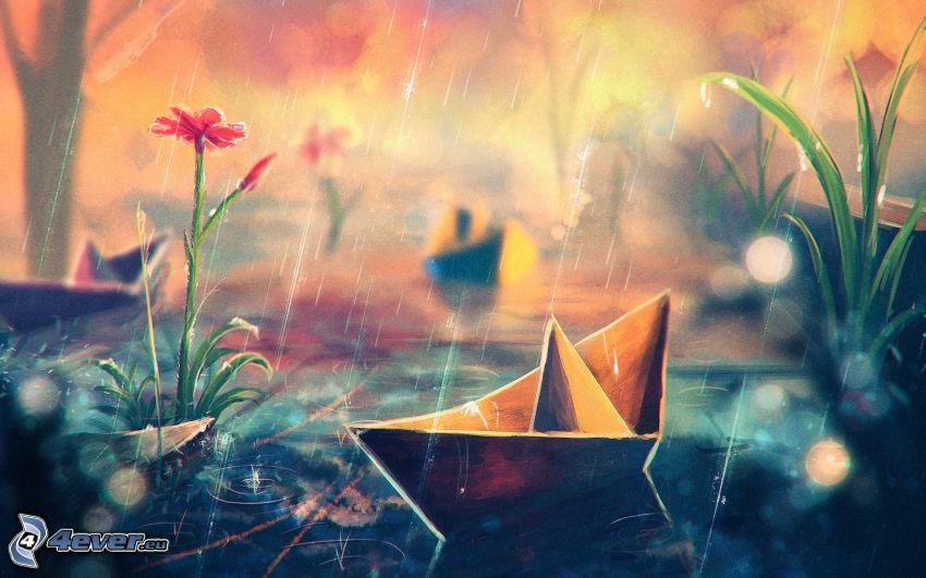 barco de papel, lluvia, flores