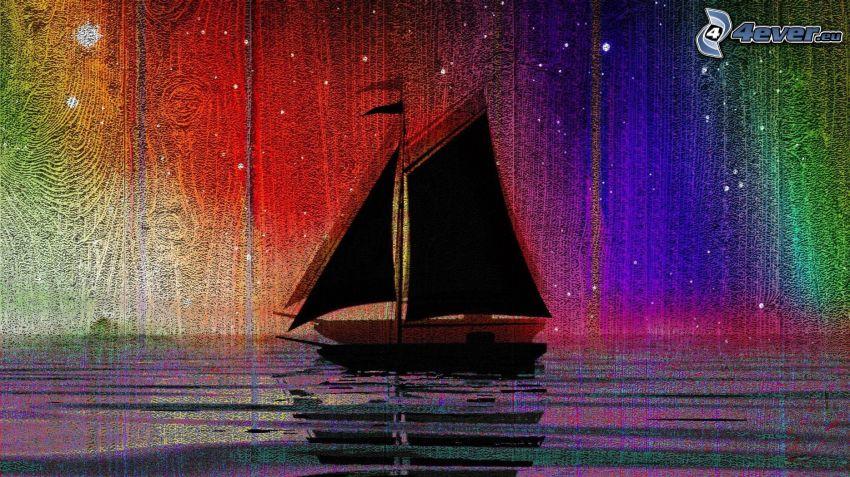 barco en el mar, colores del arco iris