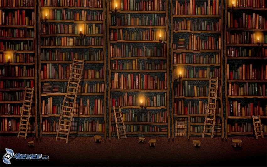 biblioteca grande, escalera