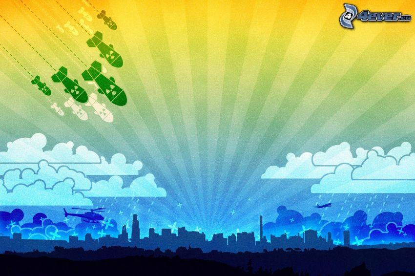 Bomba, ciudad, siluetas, helicóptero, nubes