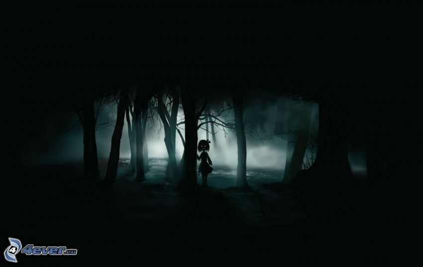 bosque oscuro, chica