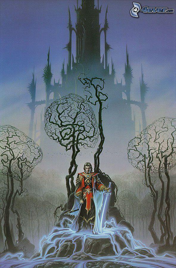 caballero, espada, trono, castillo