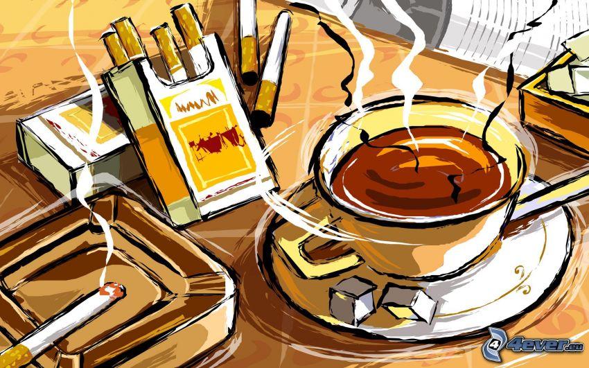 café, cigarrillos