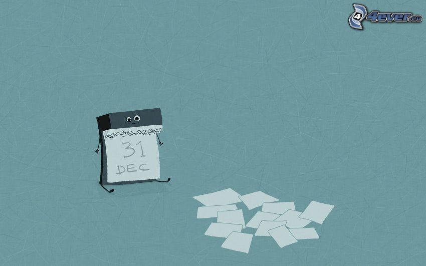 calendario, papeles