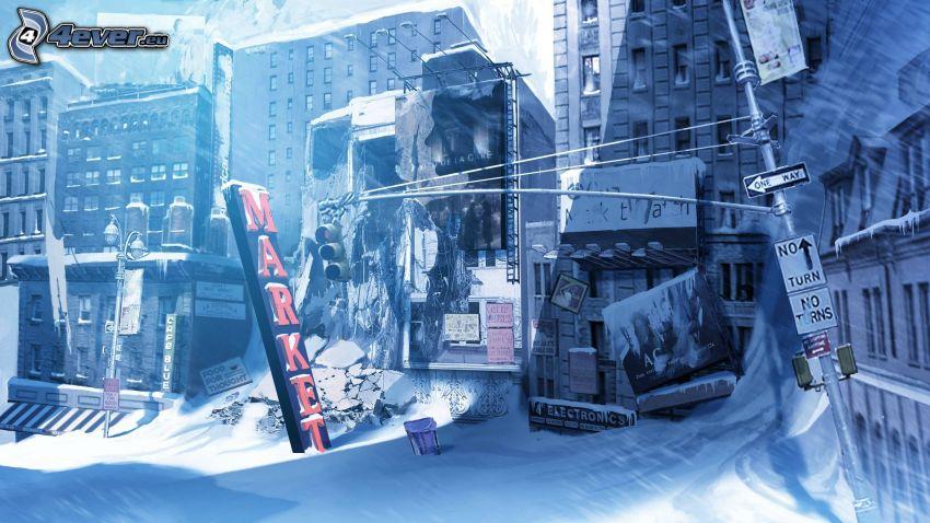 calle cubierta de nieve, ciudad post-apocalíptica