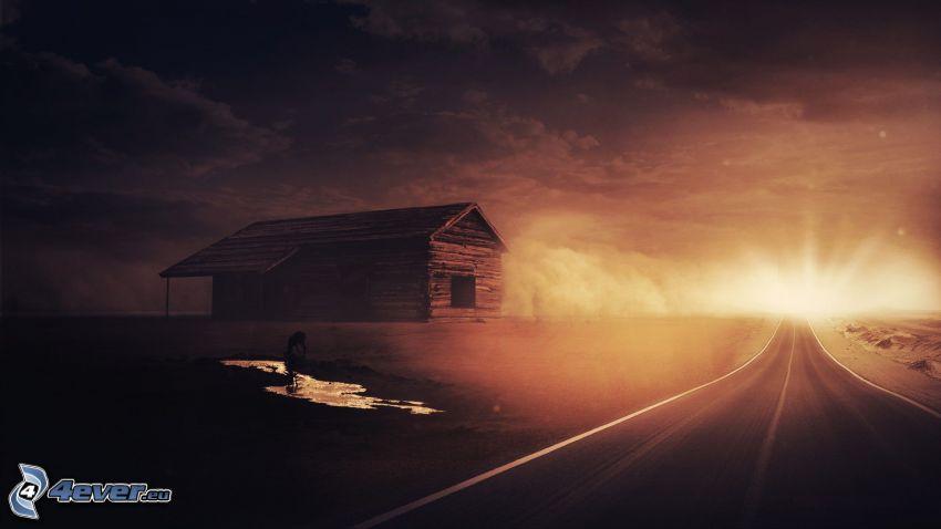 camino recto, casa de campo, corza, charco