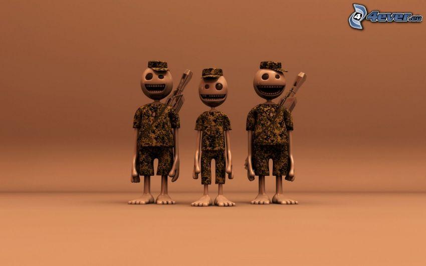 caracteres, soldados