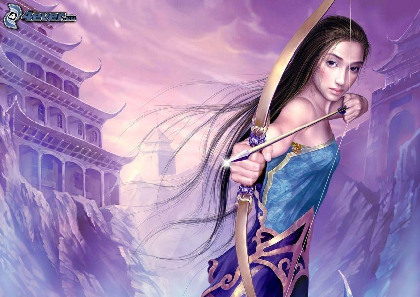 caricatura de mujer, arco, flecha