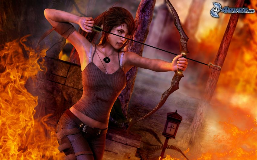 caricatura de mujer, arco, fuego