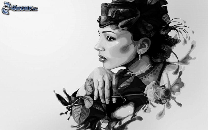 caricatura de mujer, blanco y negro