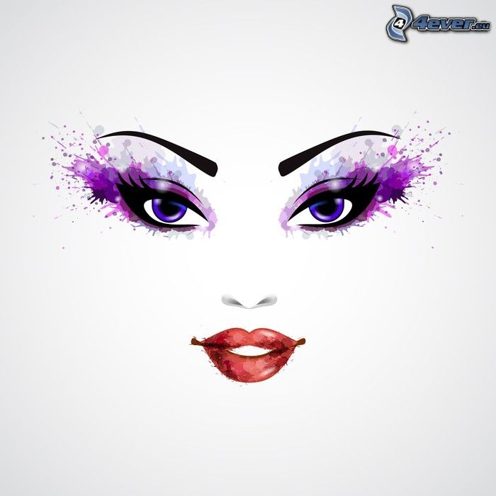 caricatura de mujer, cara, ojos azules, labios rojos