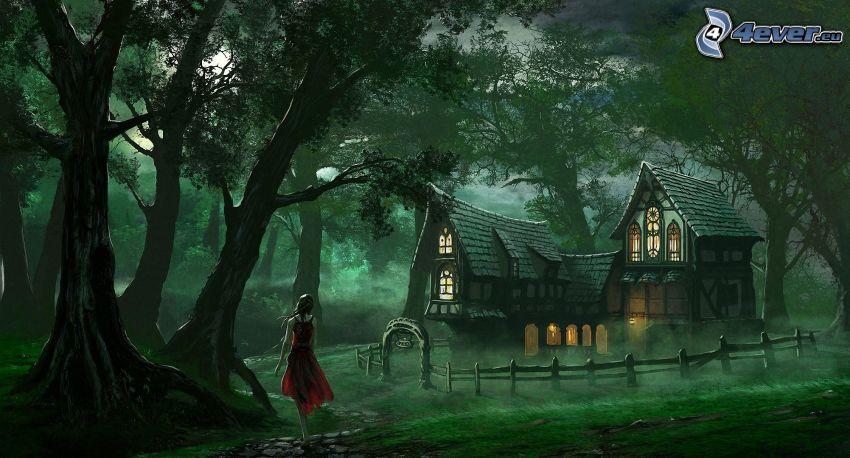 caricatura de mujer, casa, bosque