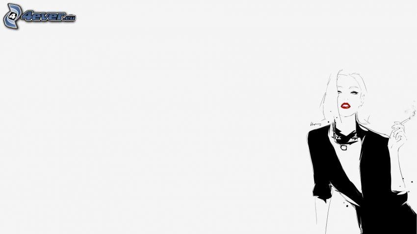 caricatura de mujer, cigarrillo