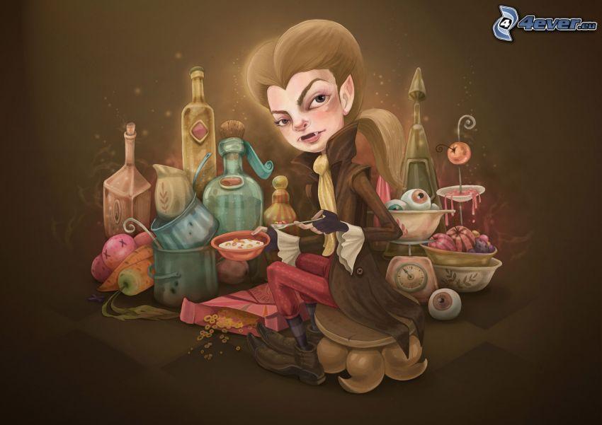 caricatura de mujer, comida, ojos, botellas