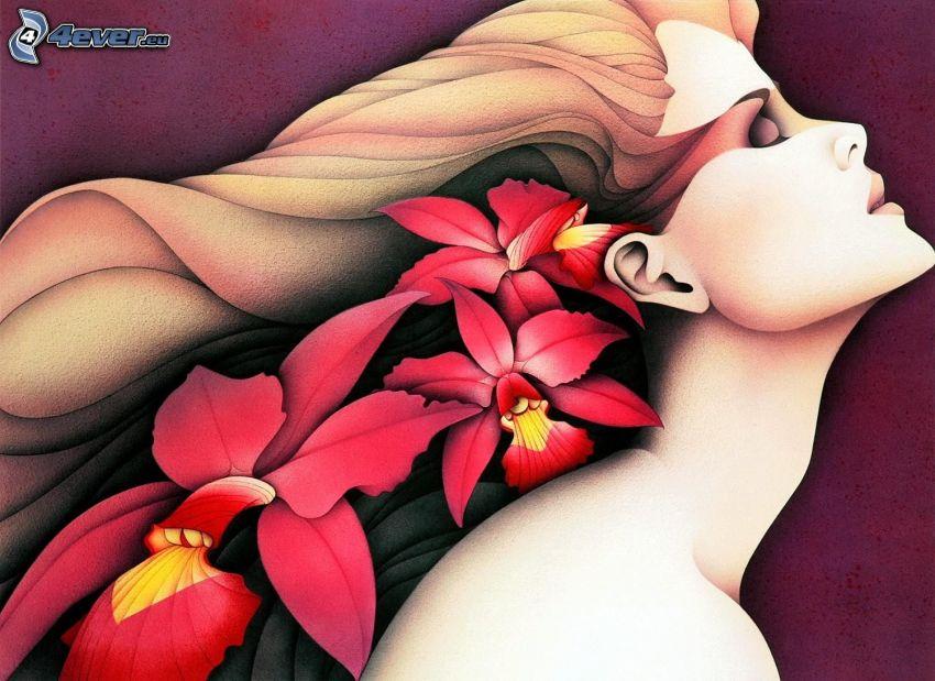 caricatura de mujer, flores rojas