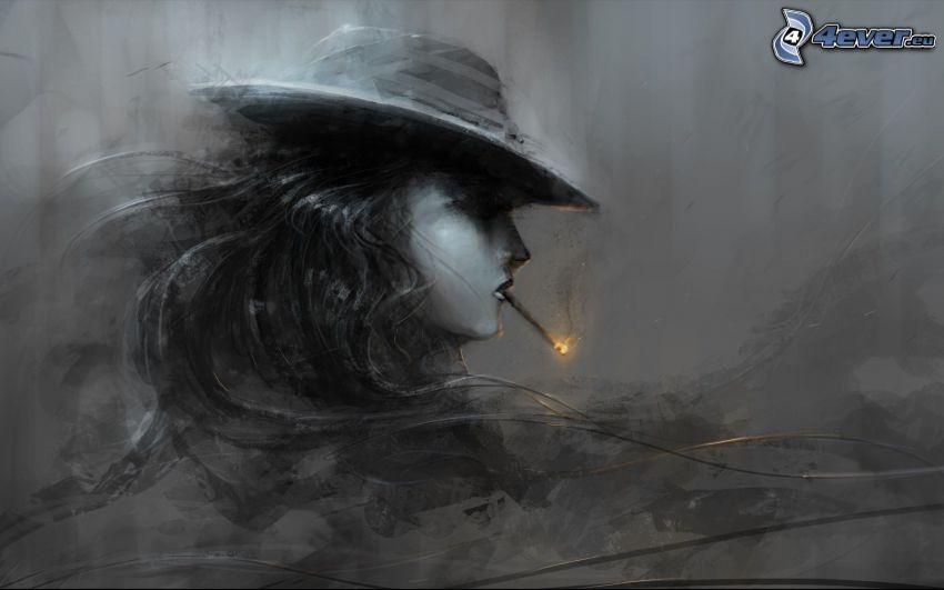 caricatura de mujer, fumar