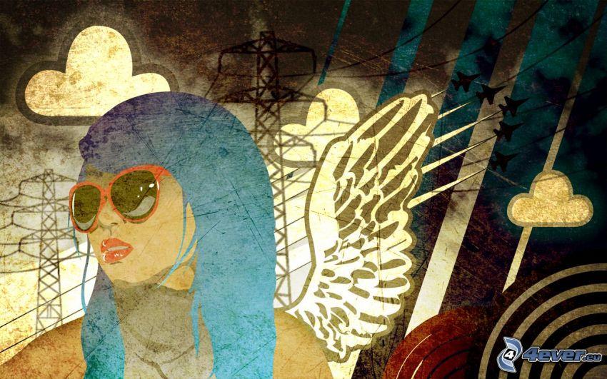caricatura de mujer, líneas, nubes, alambrado