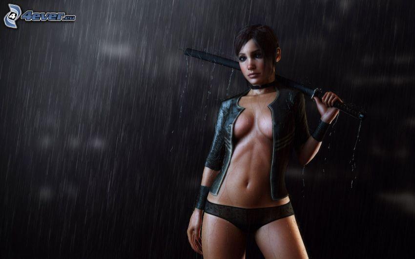 caricatura de mujer, lluvia