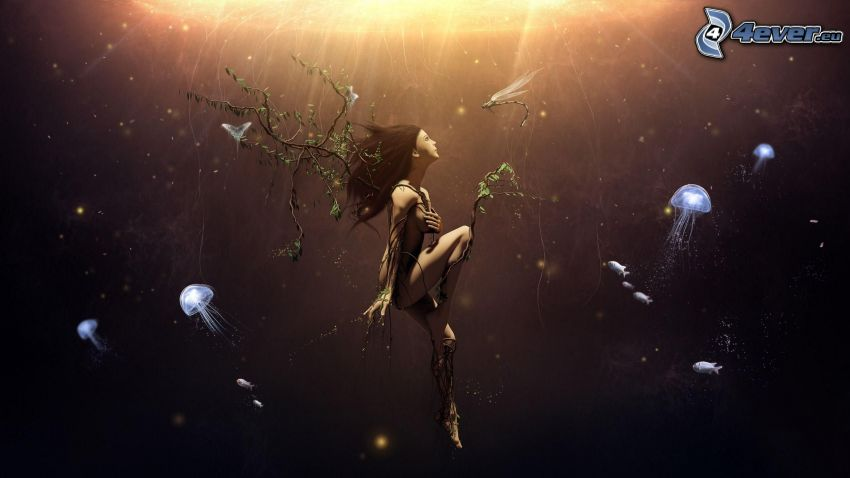 caricatura de mujer, medusas, nadar bajo el agua