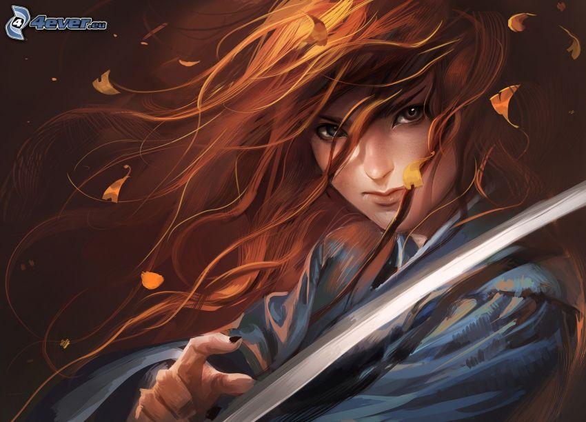 caricatura de mujer, mujer con una espada