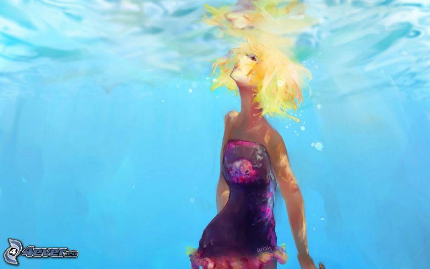 caricatura de mujer, mujer en agua