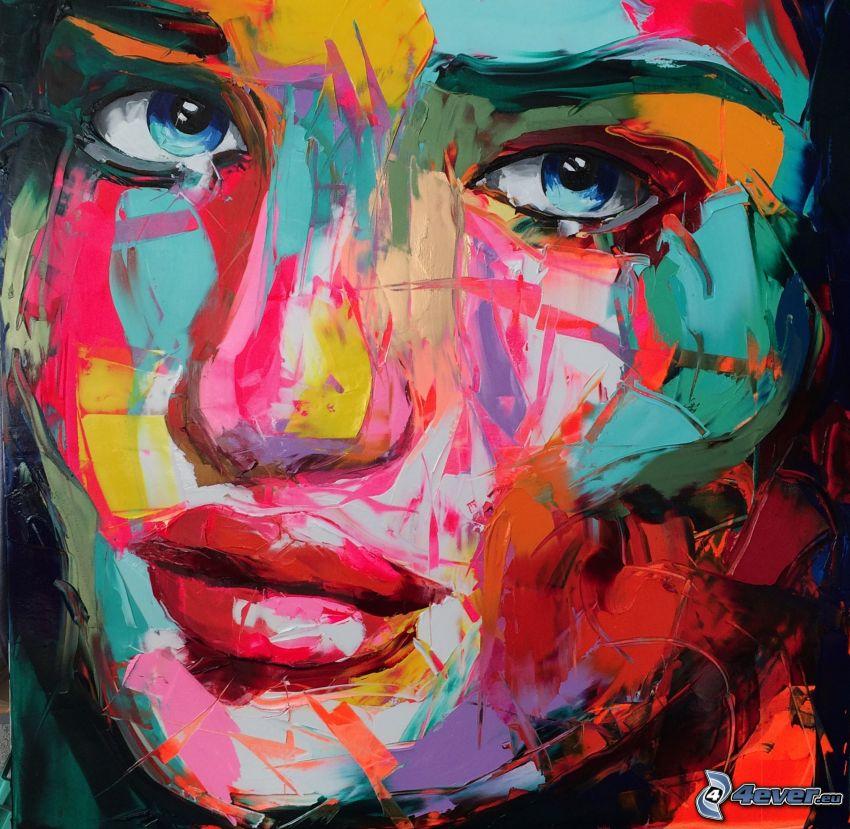 caricatura de mujer, ojos azules, colores