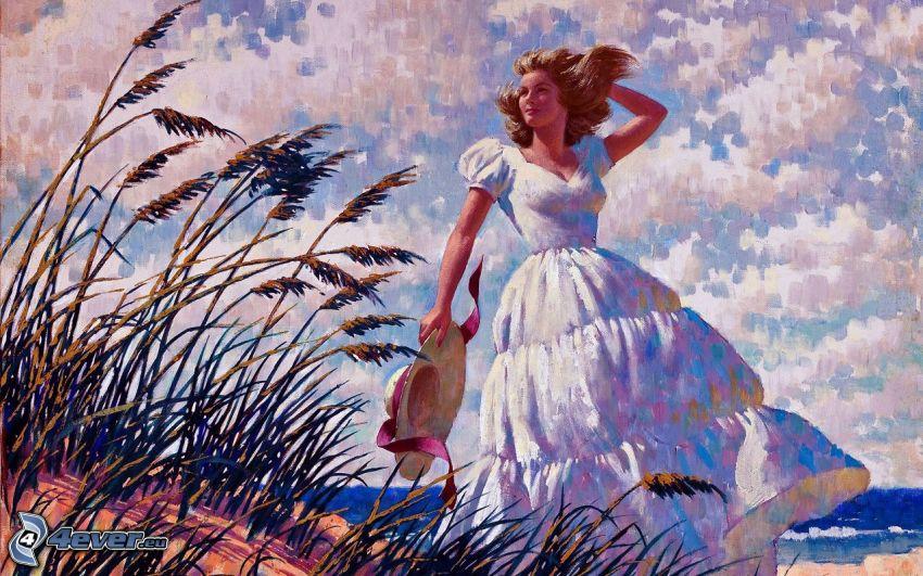 caricatura de mujer, paja de hierba, mar