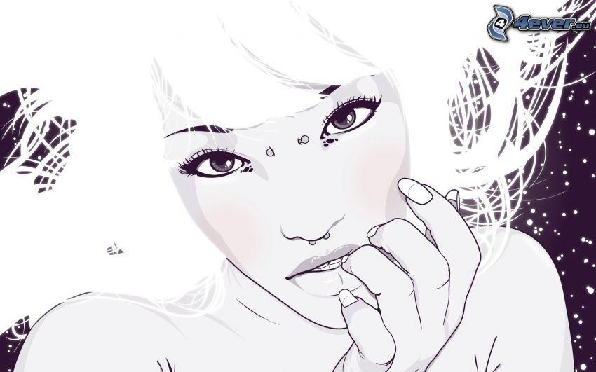 caricatura de mujer, piercing, mirada