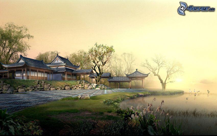casa Japonés, lago, jardín
