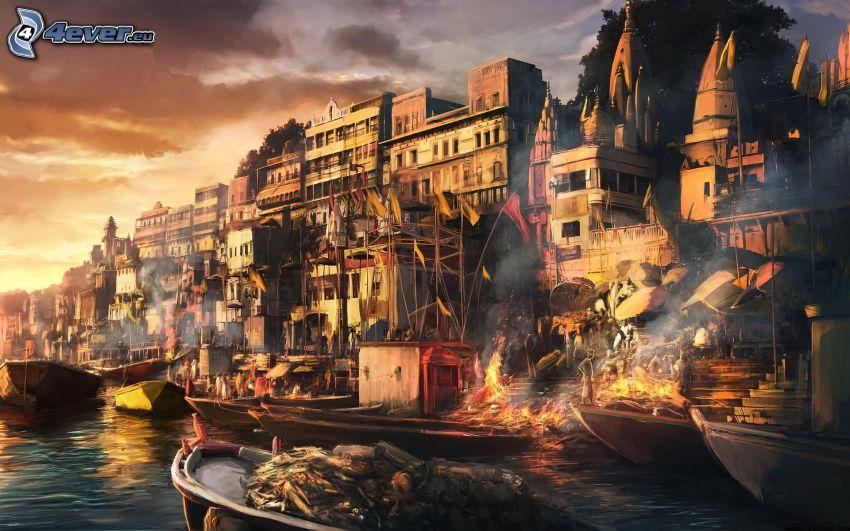 casas, barcos, fuego