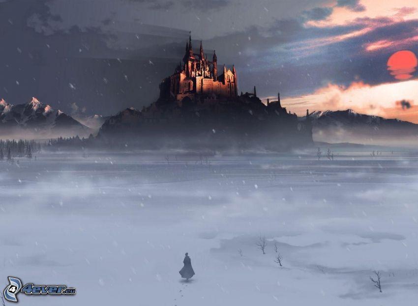 castillo, mujer, nieve