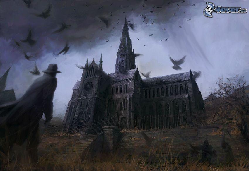 catedral, hombre con sombrero, bandada de cuervos