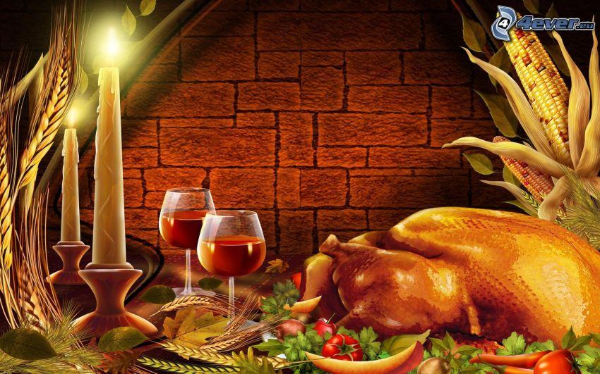 cena, pollo asado, vino, velas