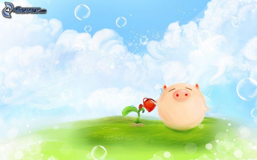 cerdito, planta, regadera, nubes, burbujas