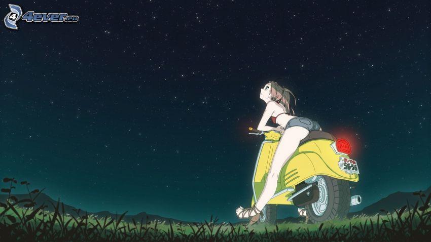 chica anime, mujer en una motocicleta, noche, universo