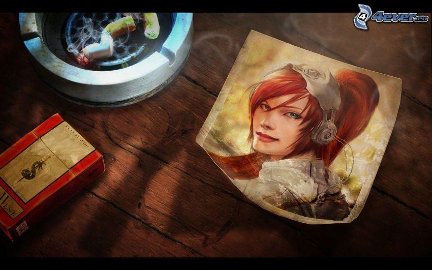 chica con auriculares, dibujo, cenicero