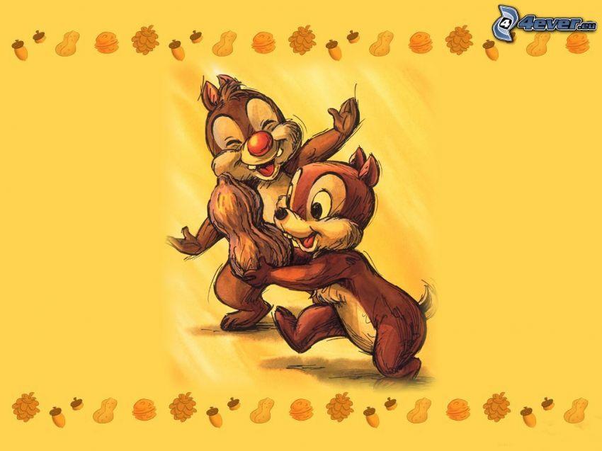 Chip y Dale, ardillas, cacahuates