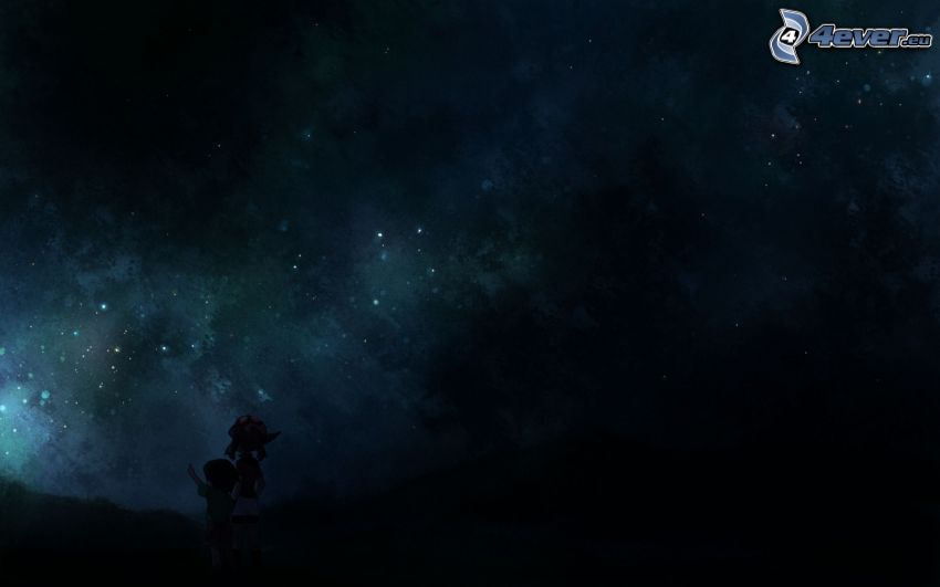 cielo estrellado, niño y niña
