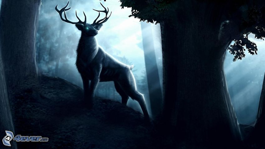ciervo, árbol