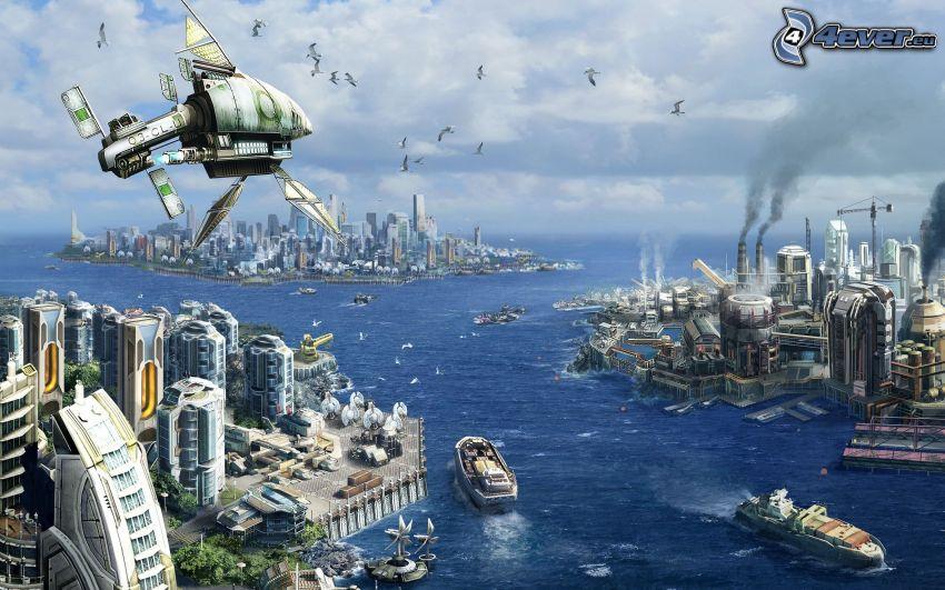 ciudad ciencia ficción, futuro, vistas a la ciudad